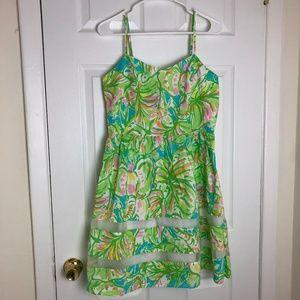 Lily Pulitzer Green Strapless Flare Mini Dress